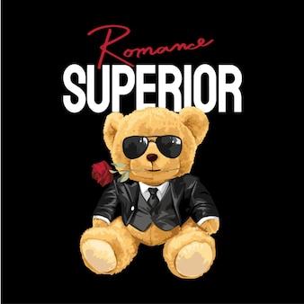 Превосходный слоган с куклой медведь в смокинге на черном фоне