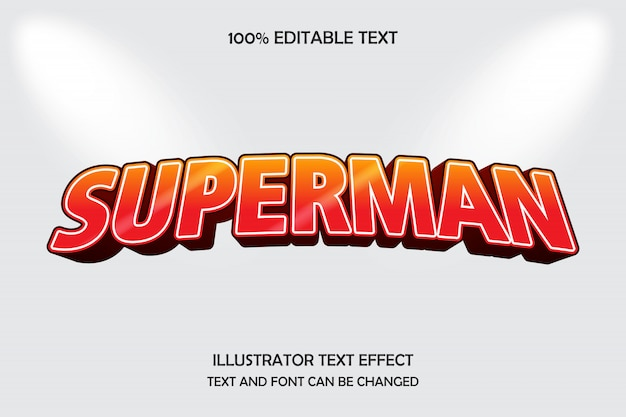 Superman, editable text effect bulge drop shadow style