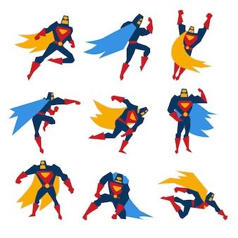 Супермен позы набор иллюстрации