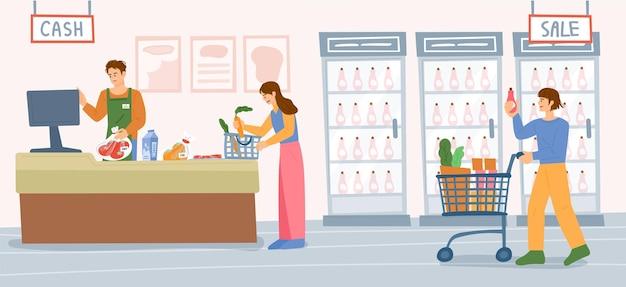 슈퍼마켓 배경 시장 직원과 상품을 세는 고객