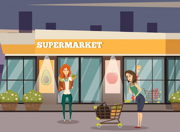 Supermarket building background