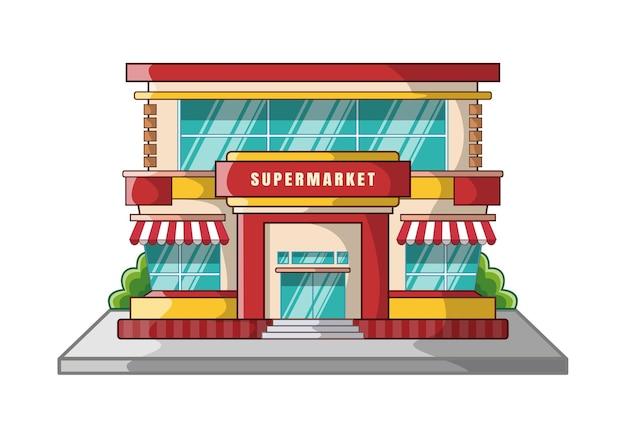 Мультфильм дизайн здания супермаркета, изолированные на белом фоне