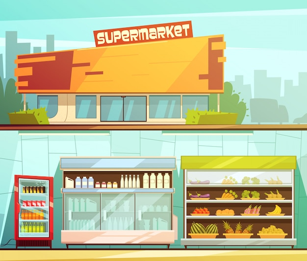 Supermarket building entrance street view and groceries dairy shelves indoor 2 retro cartoon banners