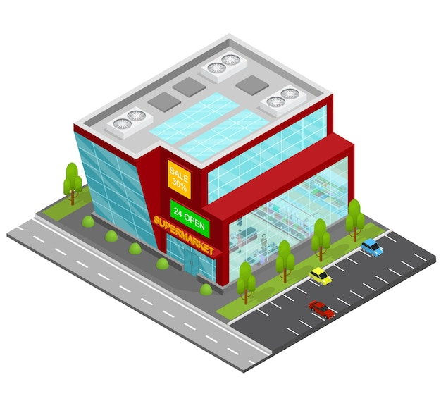 Supermarket building isometric view shop or store urban architecture modern exterior facade.