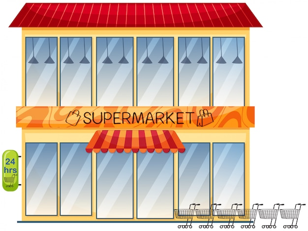 A supermarket building on white background
