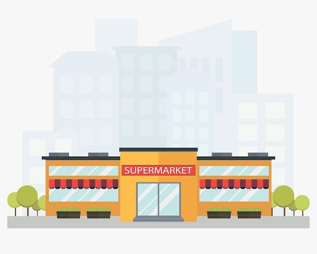 Supermarket building with city skyline