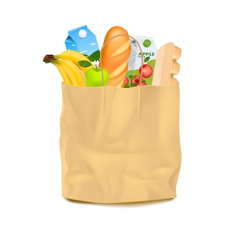 Supermarket carrier paper bag with food