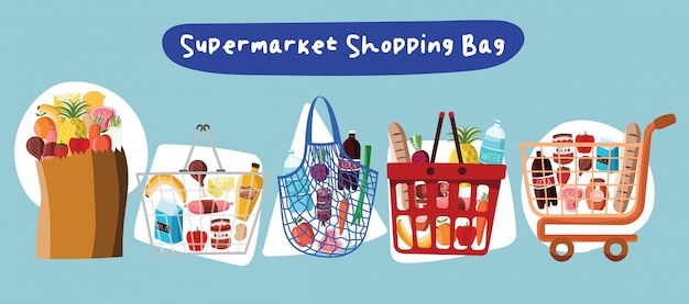 슈퍼마켓 카트 바구니 쇼핑 가방 야채 유기농 신선한 판매 제품 시장 음식 아이콘 구매 구매