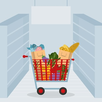 Supermarket cart with groceries and vegetables