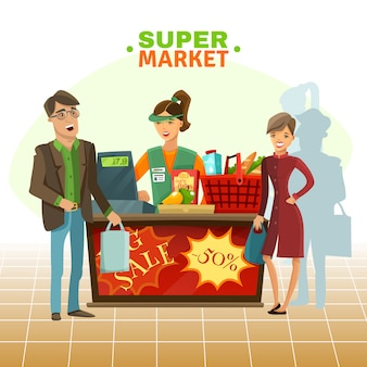 Supermarket cashier cartoon illustration
