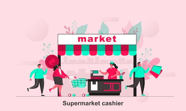 Supermarket cashier web concept in flat style with tiny people characters