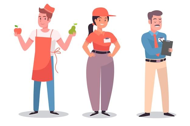 Collezione di personaggi del supermercato