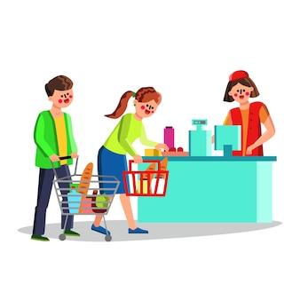 スーパーマーケットの顧客の現金デスクの近くの人々