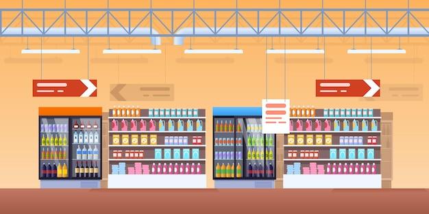 슈퍼마켓 콜드 쇼케이스 인테리어입니다. 신선한 제품 팩, 소다, 레모네이드 병, 와인, 유제품으로 냉장고, 냉장고 및 선반을 쇼핑하십시오. 멋진 상업 디스플레이 식료품 소매 선반 만화 벡터