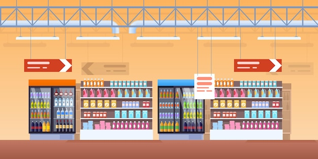 Supermarket cold showcase interior. shop fridges, refrigeration and shelf with fresh product packs, soda, lemonade bottles, wine, dairy. cool commercial display grocery retail shelves cartoon vector