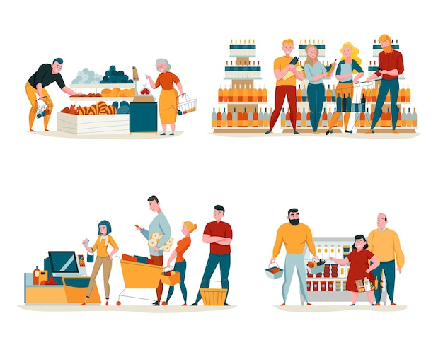 Supermarket concept icons set  isolated