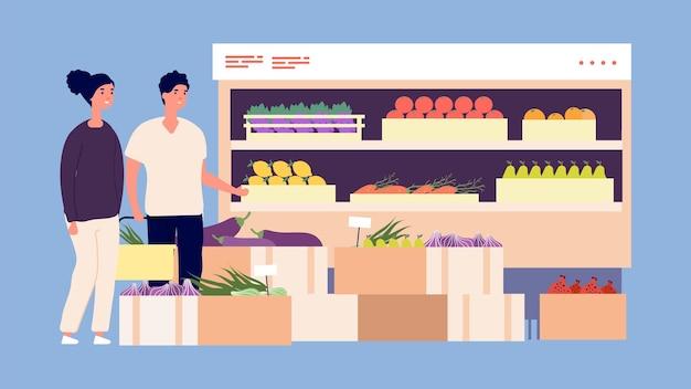 スーパーマーケットの顧客。果物や野菜を買う人。男性と女性は新鮮な栄養製品を選びます。カートのベクトル図で面白い買い物客。スーパーマーケットの女性と男性、市場の果物