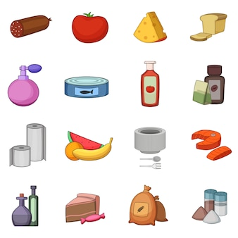 Supermarket department icons set