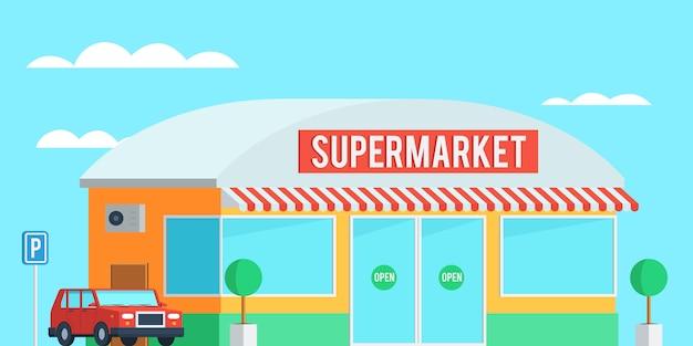 Внешний вид супермаркета с автомобилем
