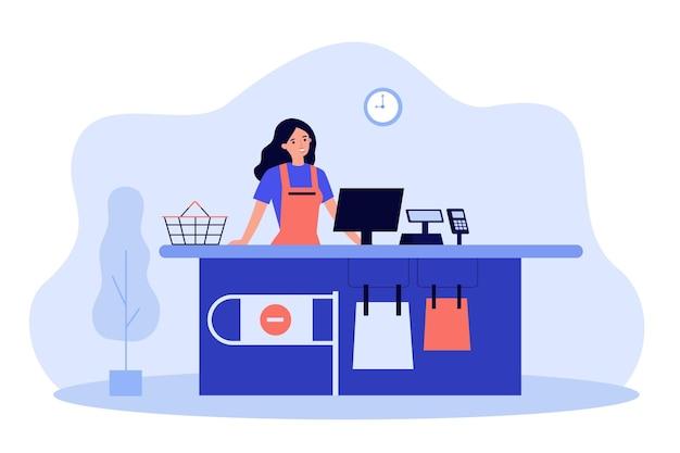 Женский кассир супермаркета, работающий на кассе