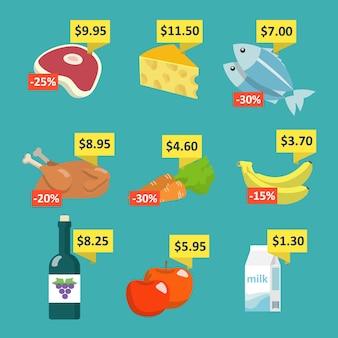Set di icone di selezione di cibo e bevande al supermercato impostato con i tag di prezzo e le etichette di sconto illustrazione vettoriale piatta