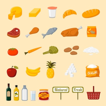Supermarket food selection icons