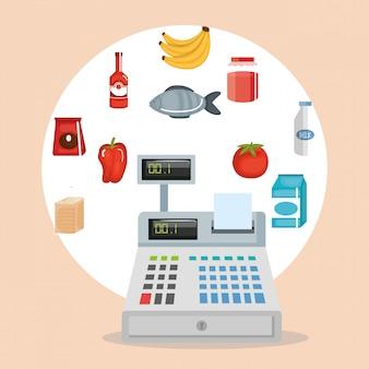スーパーマーケットの食料品は、アイコンを設定