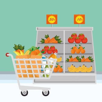 Supermarket groceries set icons