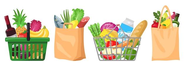 Иллюстрация продуктовых пакетов супермаркета