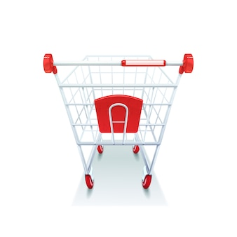 Supermarket grocery coated wire shopping pushcart with red plastic handle