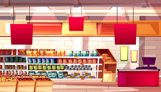 Supermarket and grocery food products on shelves illustration.