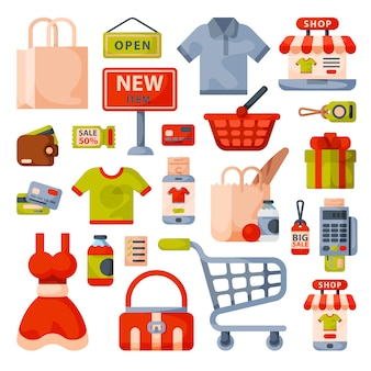 Supermarket grocery shopping flat style cartoon icons set with customers carts baskets food and commerce products isolated.