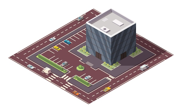 Supermarket or grocery store building and street in isometric view