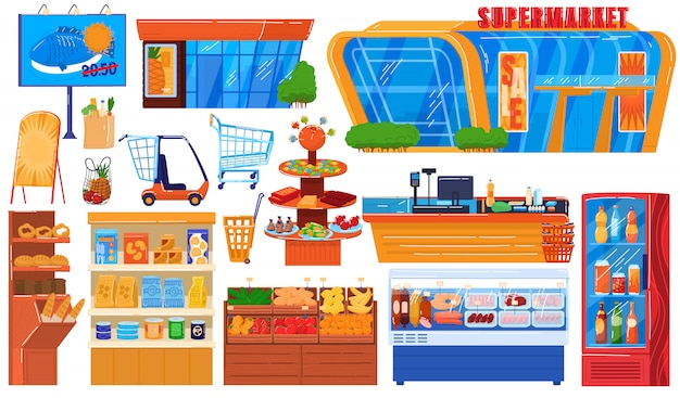 Supermarket grocery store  illustration set, cartoon  hypermarket collection of storefront building, shop shelf and freezer