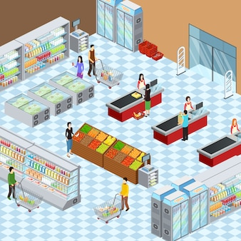 Supermarket grocery store interior design isometric composition