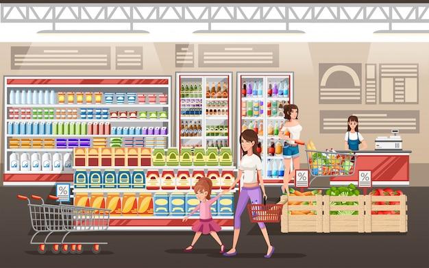 Иллюстрация супермаркета. люди делают покупки в супермаркете с тележкой продукта. иллюстрации. полки и холодильники для продуктов