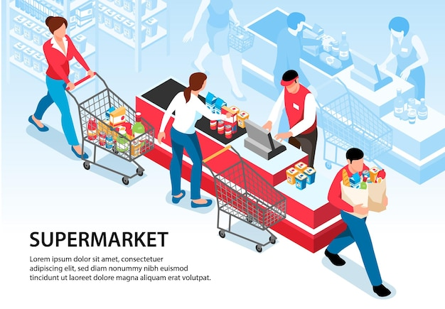 Supermarket illustration with buyers driving pushcarts with groceries to cash desk