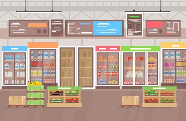 슈퍼마켓 인테리어. 상품, 과일 및 채소가 많은 대형 상점 슈퍼 마켓. 플랫 만화 스타일의 쇼핑몰 인테리어.