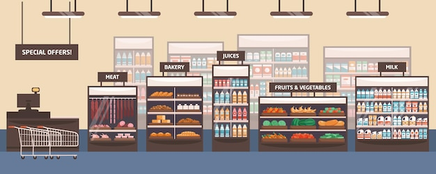 Supermarket interior flat banner. grocery store, shelves with food products.