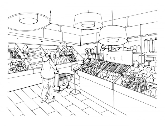 Supermarket interior in hand drawn style. grocery store, vegetable department.  black and white illustration.