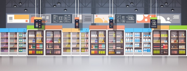 Supermarket interior retail store with assortment of grocery food