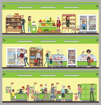 Supermarket interior set. people buying food and drink.