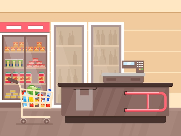 Supermarket interior with counter and fridges with drinks shelfs and stands