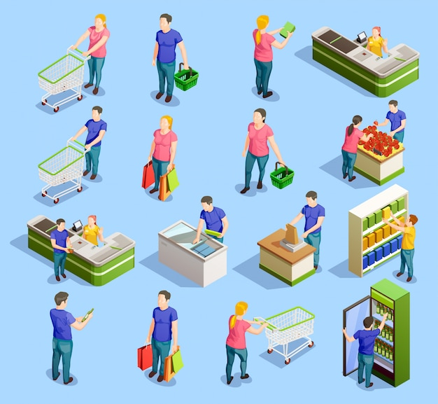 Supermarket isometric elements collection