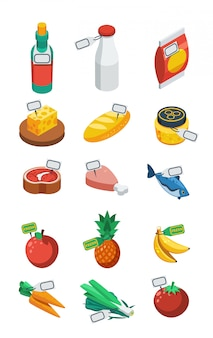 Supermarket isometric flat icons