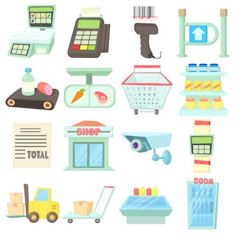 Supermarket items icons set