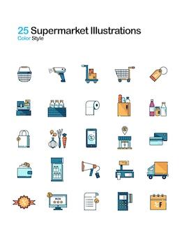 Линейная цветная иллюстрация супермаркета