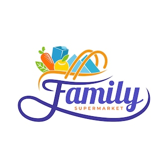 Supermarket logo with groceries