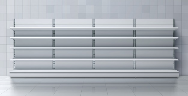 Supermarket long rack with empty shelves vector