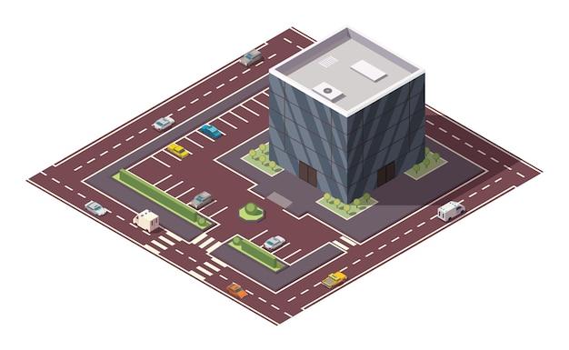 Здание супермаркета или продуктового магазина и улица в изометрической проекции